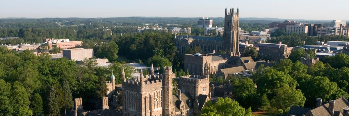 Alternate aerial view of Duke chapel