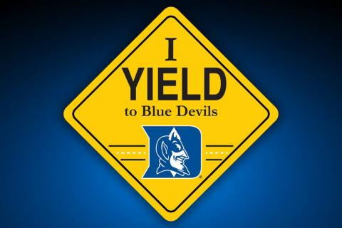 I Yield to Blue Devils shield logo